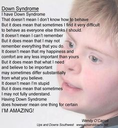 Beautiful words about Down Syndrome.