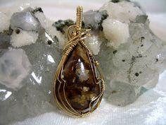 Tiger Eye Bronzite Pendant 14K Goldfilled Wire by jpatterson312, $50.00