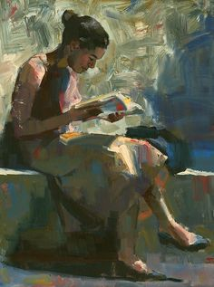 """Reader #19 (large), 2012. Darren Thompson. Oil.    """"This is a larger painting (24 x 30) done from a previous smaller piece. The photo reference was taken 6 years ago. I don't hire models. I look to capture normal people. This lady happened to be reading a book during a lunch break outside the Museum of Modern Art in NYC."""""""