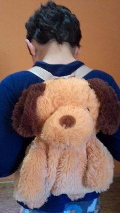 mochila infantil urso de pelúcia seminova