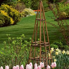 Gardening Love Rustic Twig Tower - This redesigned Adirondack-style tower is made from hardwood saplings that are nailed together, then bound with tough, pliant vines. Arbors Trellis, Garden Trellis, Trellis Ideas, Potager Garden, Trellis Design, Garden Art, Garden Design, Garden Ideas, Espalier