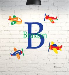 Vinyl wall art for kid's room. Airplane wall decor personalized with child's name & monogram. Custom bedroom wall decal. Little boys room. by PinkPigPrinting on Etsy
