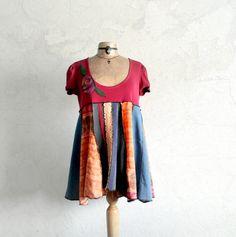 Colorful Boho Top Lagenlook Tunic Women's by BrokenGhostClothing
