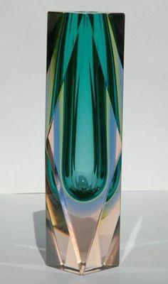 "1964 Murano Sommerso Mandruzzato 8"" Facetted Vase. Rare 4 Colour inc. Uranium."
