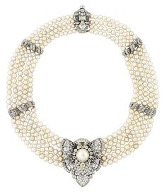 Lot 171 is a five-strand natural pearl necklace with diamonds. The central pearl has an exceptional lustre