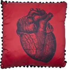 Sourpuss Anatomical Heart Gothic Pillow Tattoo Punk Rockabilly Decor Red Satin #Sourpuss