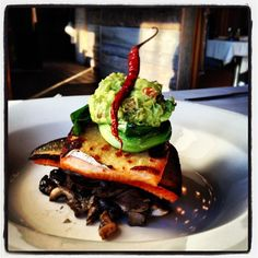 12-14-12 West #Hartford, CT #Specials: Pescado con Huitlacoche Pan seared Arctic char over huitlacoche wild mushrooms, topped with guacamole and grilled scallion