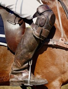 Polo players wear leather boots and knee pads for protection.