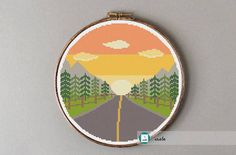 Road trip at sunset cross stitch pattern. This pattern is a PDF file that you will be able to download immediately after the payment is completed. The PDF files are available in you Etsy account, under My Account and then Purchase after payment has been cleared. In order to view and print the