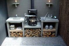 More safety and comfort with intelligent radio systems - Garten - Outdoor Kitchen Outdoor Kitchen Bars, Backyard Kitchen, Outdoor Kitchen Design, Small Garden Kitchen, Backyard Bbq, Back Gardens, Outdoor Gardens, Parrilla Exterior, Bbq Area