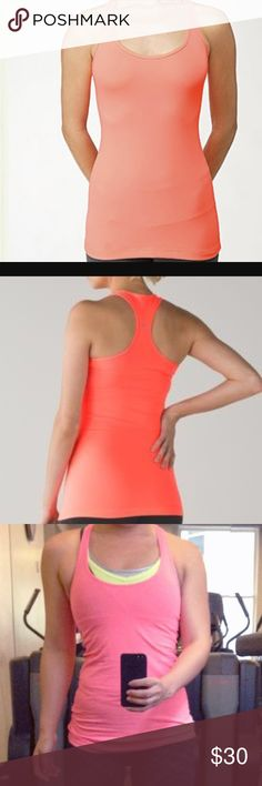 Light up cool racer back LULULEMON EUC Used several times but I don't see any flaws. No built in bra. Lovely bright mango color. No trades. Ask any questions you might have prior to purchase lululemon athletica Tops Tank Tops