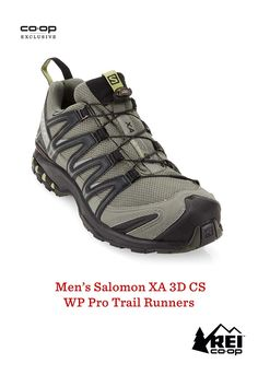 The Salomon XA PRO 3D CS WP trail-running shoes are famous for their durability, grip, fit and waterproof protection. Now they've been updated with improved stability and comfort. ClimaShield waterproof liners provide full-bootie protection, and the breathable synthetic mesh uppers have overlays that wrap your insteps for lateral stability. Pick up a pair of these shoes to achieve your best performance on the trail.