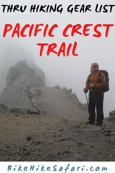 Gear List for thru hiking the pacific crest trail. Backpacking, trekking or hiking the PCT, this gear list will help with your Pacific Crest Trail planning for your your thru hike. Hiking Gear List, Backpacking Tips, Hiking Tips, Pct Trail, Appalachian Trail, Pacific Crest Trail, Pacific Coast, Continental Divide, Thru Hiking