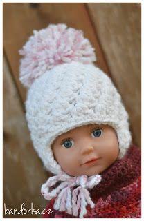 bandorka: Háčkovaná newborn nebo Babyborn ušanka Winter Hats, Crochet Hats, Retro, Knitting Hats, Retro Illustration