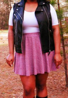 fashion, plus size, moto vest, spring looks, skater skirt