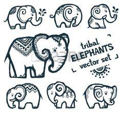 ช้างน่ารัก Tribal style tiny elephants vector set isolated on white Tribal style tiny elephants vector set isolated on white Zentangle Elephant, Elephant Doodle, Henna Elephant, Tribal Elephant, Elephant Design, Elephant Tattoo Design, Pretty Tattoos, Cute Tattoos, Body Art Tattoos