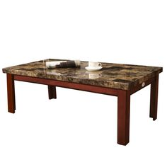 """Walnut Color Wood Faux Marble Finish Rectangular Coffee Table 48x24"""""""