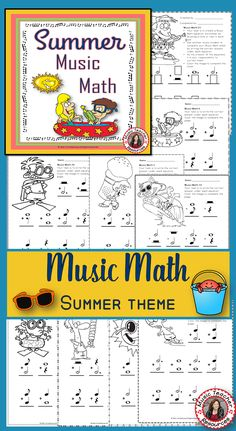 Music Math Worksheets with a SUMMER Theme 24 Music worksheets aimed at reinforcing students' understanding and knowledge of note and rest values. Each music math worksheet has a summer image for the student to color. | Music Theory | Music Worksheets |