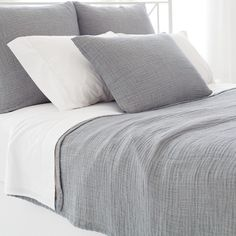 Like a favorite pair of perfectly worn jeans, this deconstructed, super lightweight matelasse coverlet in a faded denim hue is ideal for spending long, la...