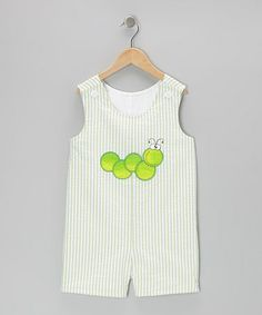 Take a look at this Green Inchworm Seersucker Shortalls - Infant & Toddler by Wiggles and Giggles on #zulily today!
