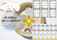 W marcu jak w garncu, gra matematyczna dla dzieci. Preschool, Gra, Seasons, Holiday Decor, Spring, Speech Language Therapy, Kid Garden, Seasons Of The Year, Kindergarten