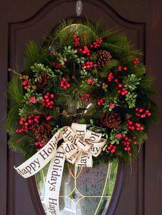Kerst deur krans