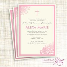 Sophisticated modern confirmation invitation with photo ...