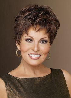 WINNER ELITE Wig by RAQUEL WELCH, Glazed Mahogany. Winner Elite by Raquel Welch is a pixie with barely waved layers that's perfect for every occasion. The ready-to-wear synthetic hair looks and feels like natural hair. Short Hair Cuts, Short Hair Styles, Bob Styles, Pixie Cuts, Raquel Welch Wigs, Short Wigs, Short Pixie, Short Shag, Curly Wigs