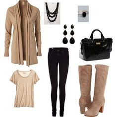 beige and black-- this looks like a saturday lunch with girls outfit...