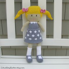 Hand Knit Doll  Plush Doll  Knitted Stuffed by cotuitbayknitter.etsy.com