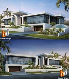 3D Rendering front facade of a luxury home. Anglers Esplanade, Runaway Bay, Gold Coast QLD Australia's Leading 3D Architectural Visualisation and Rendering Company specialising in 3D Architectural Visualisation - 3D Architectural Rendering - Artist Impressions - 3D Rendering - 3D floor plans - 2D colour Floor Plan illustrations