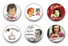 Magnets, Button Magnets, Fridge Magnets, Retro Coffee Magnets, 1 1/4 inch, Best friends gift, Hostess Gift, SET OF 6, Coffee 1. by RubysNeedfulGifts on Etsy