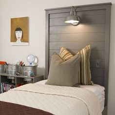 Seriously love this headboard with the light & light switch!! VERY doable indeed!