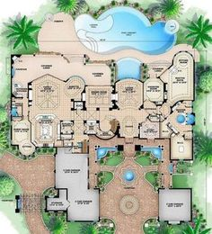 This Tuscan house plan will create a tremendous curiosity and curbside appeal from its secretly hidden motor court and six-car garage to the elegance of t. House Plans Mansion, Beach House Plans, Cottage House Plans, Craftsman House Plans, Dream House Plans, House Floor Plans, Craftsman Farmhouse, Tuscan House Plans, Mediterranean House Plans