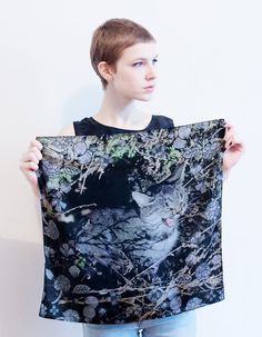 printed tabby cat silk scarf
