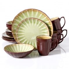 Gibson Elite Sillano 16-Piece Dinnerware Set, Green