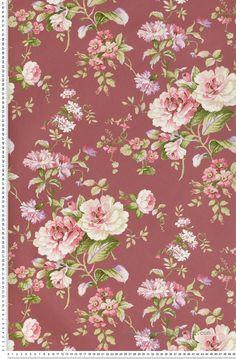 Fleurs classiques roses fond amarante - Papier peint Lutèce
