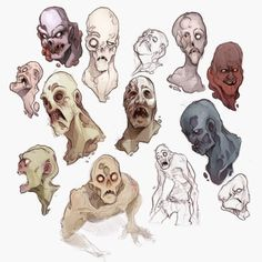 Zombie illustrative character design from Endling. Apocalypse Character, Apocalypse Art, Fallout Concept Art, Fallout Art, Weird Creatures, Fantasy Creatures, Zombie Drawings, Character Art, Character Design