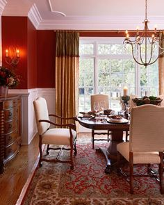 Red Dining Room With Wainscoting Design, Pictures, Remodel, Decor And Ideas    Page