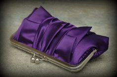 Classic Pleat Kisslock Purple Satin by ItsSoClutch on Etsy Purple Love, Purple Bags, All Things Purple, Purple Satin, Lilac, Lavender, Bridesmaid Clutches, Wedding Purse, Bottle Bag