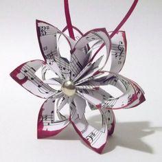 Falling Star Paper Ornament- handmade sheet music ecoration, one of...... | Danamazing1221 - Seasonal on ArtFire