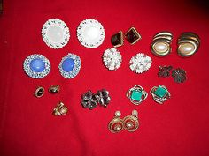 Vintage-Lot-of-11-Clip-On-Earrings-Costume-Jewelry