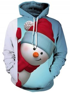d506f7380dfe0 Snowman 3D Print Kangaroo Pocket Christmas Hoodie - LIGHT BLUE 3XL Fashion  Site