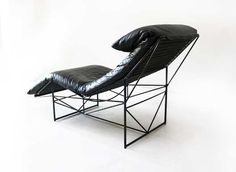Paolo Passerini; Painted Metal and Leather Chaise Longue, 1980.