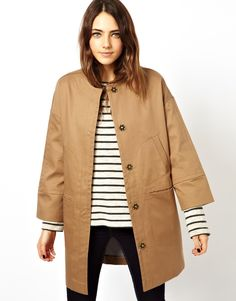 5435db4a01b300 ASOS Bonded Coat With Pocket Stitch Detail Fall Jackets