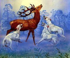 Celtic fairy hounds - the Cwn Annwn (© Roger Garland) In Welsh mythology and… World Mythology, Celtic Mythology, Lynda Barry, Celtic Art, White Dogs, Gods And Goddesses, Mythical Creatures, Faeries, Fairy Tales