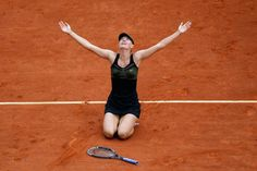 Maria Sharapova of Russia celebrates after defeating Sara Errani of Italy, 6-3, 6-2, in their women's final match in the French Open tennis tournament at the Roland Garros stadium in Paris on June 9. Sharapova dropped to the clay in both celebration and disbelief after becoming the 10th woman to complete the tennis version of a career Grand Slam. AP