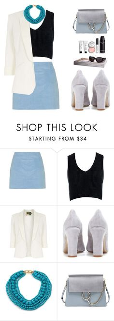 """""""Sleeveless cropped sweater"""" by vendre-du-reve on Polyvore featuring Topshop, Sans Souci, Jolie Moi, Valentino, Kenneth Jay Lane, Chloé and Bobbi Brown Cosmetics"""