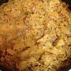 Super easy! Southwest Chicken & rice. chicken tenderloins-cut into small squares, 2 cups instant rice, 1 taco seasoning, 1 can rotel, grated cheese. cook chicken in skillet. add 1 1/2 cups water, taco seasoning and rotel. heat to boiling. add 2 cups instant rice. stir, remove from heat and cover. once water is absorbed, stir and top with cheese. let cheese melt and voila!! dinners served! eat with tostitos, tortillas or by itself!