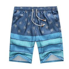 Men Beach Shorts  This mens beach shorts is made of polyester. Its pattern type is print and  its closure is elastic waist. Additionally, it is quick dry and fits true to size. Hence, please choose your normal size. Thanks.